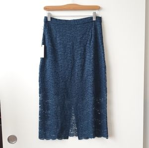 Aritzia Babaton Wilbur Lace Blue Pencil Skirt 8